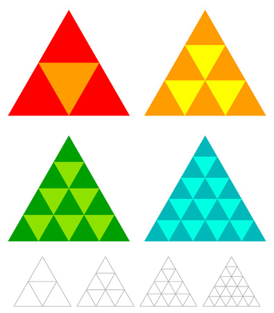 mosaic triangle elements with wireframe grid. tessellation, mosaic triangles Illustration