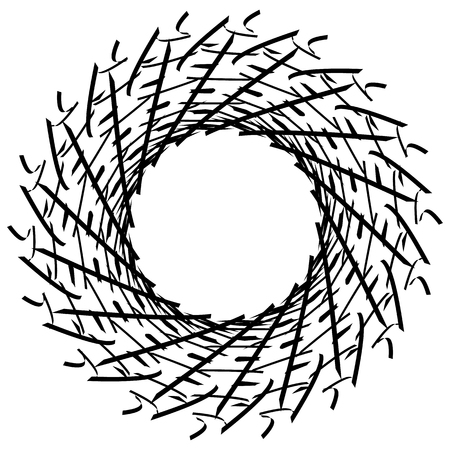 Geometric circle element. Circular graphic with geometric lines. Abstract element on white. Illustration
