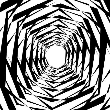 Concentric geometric hexagons  octagons. Abstract monochrome pattern. Illustration