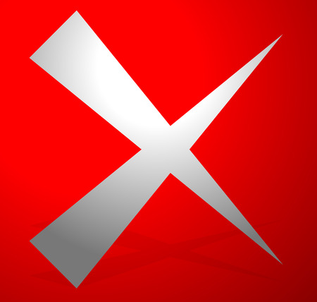 X letter, x shape. Cross with red colors as delete, remove, failure icon Ilustrace