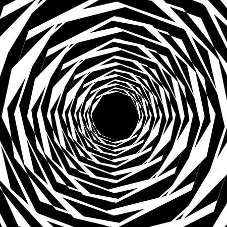 anomalous: Concentric geometric hexagons  octagons. Abstract monochrome pattern. Illustration