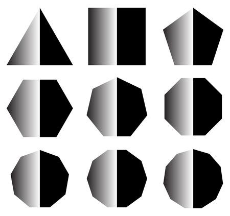 basic shape: basic shapes with shine. set of 9 shape icons Illustration