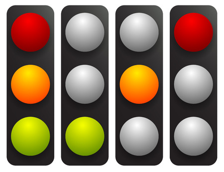 disallow: Simple traffic light  traffic lamp set in sequence. Control lights, allow, disallow, hold concepts.