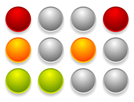 Simple traffic light  traffic lamp set in sequence. Control lights, allow, disallow, hold concepts.
