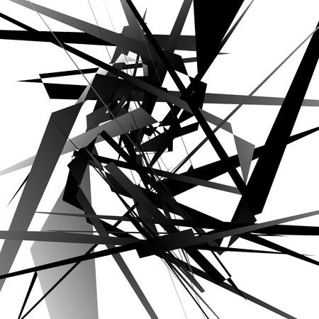 random: Random edgy, dynamic lines. Geometric monochrome art. Illustration