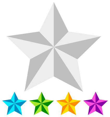 3d star. Star icon. Faceted star. Beveled star. White and colorful star icon. Illustration