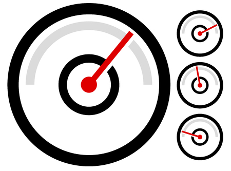 gauge meter symbol, icon at 4 stages. pressure gauge, odometer, speedometer Illustration