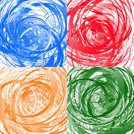 Geometric abstract art with random irregular spirals