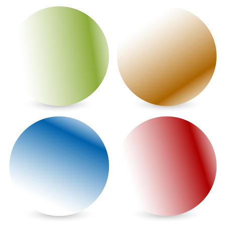 Bright colorful button, badge shapes with shadow