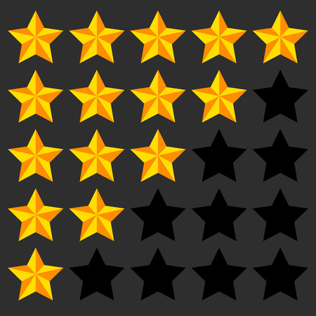 3d star: Star rating element. 5 point rating. Beveled, 3d star icons. User feedback, user experience, user satisfaction concepts. Rating stars.  Illustration