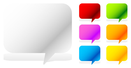 dialog baloon: White and six vivid color speech, talk bubbles Illustration