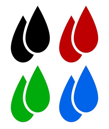 Set of liquid drops. Oil, blood, biofuel, water drop symbols.