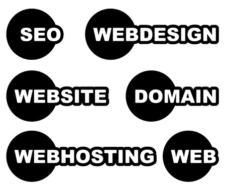 webhost: Tags, labels with web, web related words. Seo, webdesign, website, domain, webhosting.