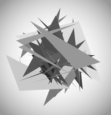 modernism: Abstract geometric art with random, unsettled edgy shapes