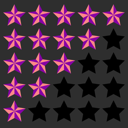 good judgment: Star rating element. 5 point rating. Beveled, 3d star icons. User feedback, user experience, user satisfaction concepts. Rating stars.  Illustration