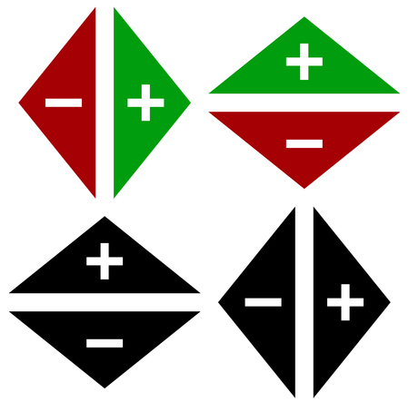 opposite arrows: Arrows in opposite directions. Symbol of arrows in pairs with plus, minus marks Illustration