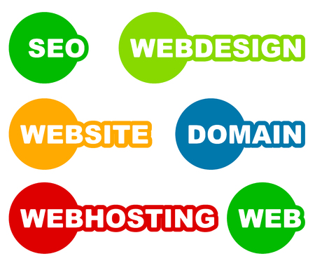 webhosting: Tags, labels with web, web related words. Seo, webdesign, website, domain, webhosting.