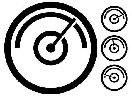gauge meter symbol, icon at 4 stages. pressure gauge, odometer, speedometer Illustration
