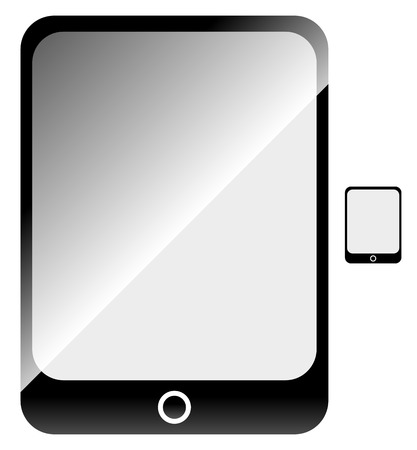 flat screen: Tablet with blank screen. Flat symbol included.