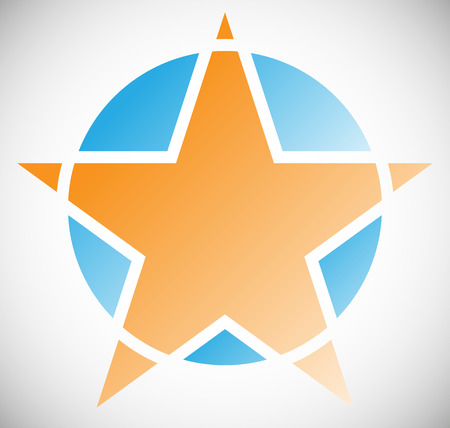 segmented: Star element in segmented geometric style. Star badge, star icon. Illustration