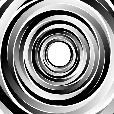 Geometric spiral pattern with concentric circles, rings. Abstract monochrome illustration. Vector Illustration