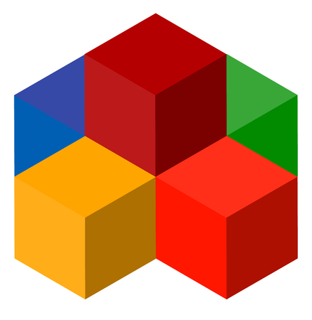 developement: Icon of multicolor isometric cubes. Cube stack  .