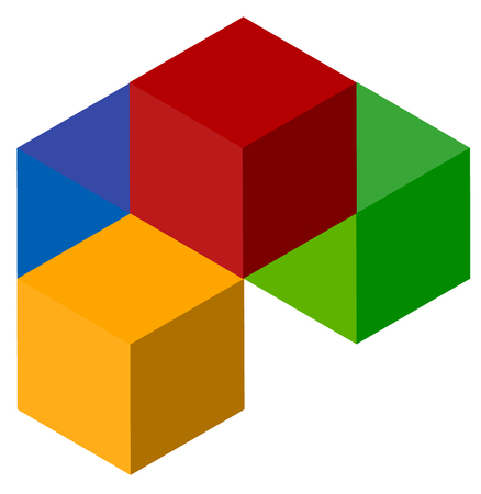 Icon of multicolor isometric cubes. Cube stack  .