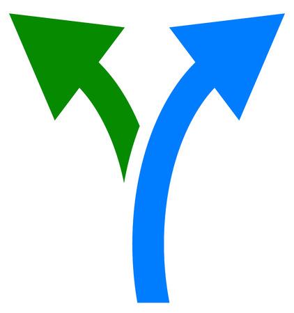 Bidireccional símbolo de flecha, icono de la flecha. flechas curvas a izquierda y derecha