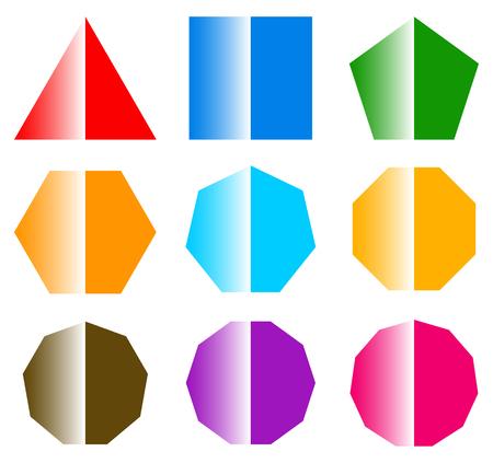 heptagon: basic shapes with shine. set of 9 shape icons Illustration