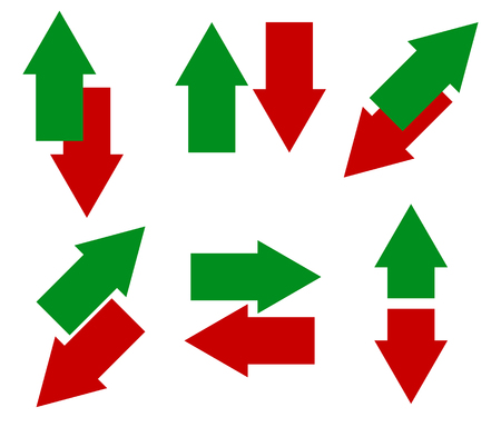Green, red arrows in opposite direction. Up, down and left right arrow icon set. Ilustrace