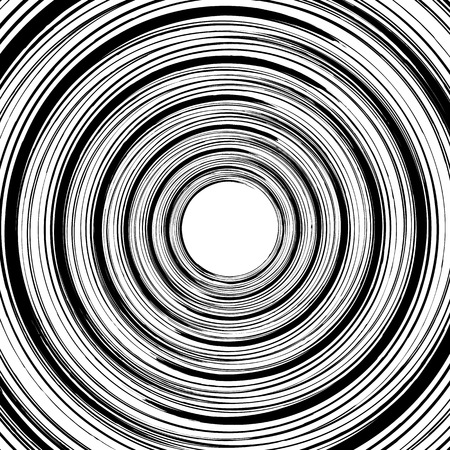 Geometric spiral pattern with concentric circles, rings. Abstract monochrome illustration. Illustration