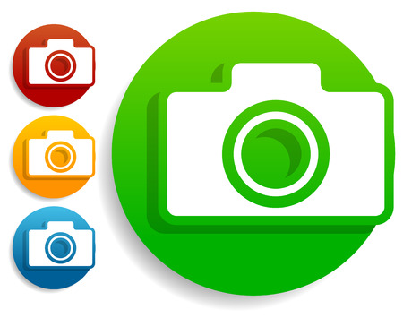 Compact - hobby photo camera icon in green, red, yellow, blue colors Illustration