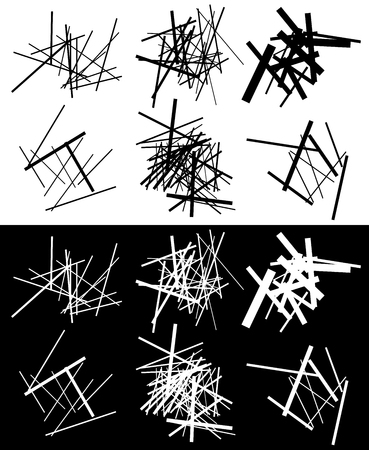 inverse: Set of abstract geometric elements with lines in black and white