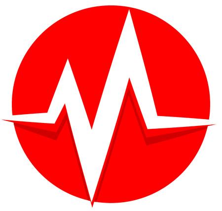 frequency modulation: ecg, ekg line. pulse, beat, heartbeat icon