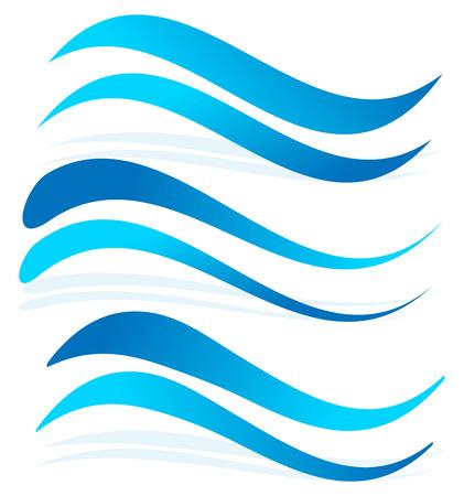 水の要素としての波線。ダイナミックな起伏、大波青い線  イラスト・ベクター素材