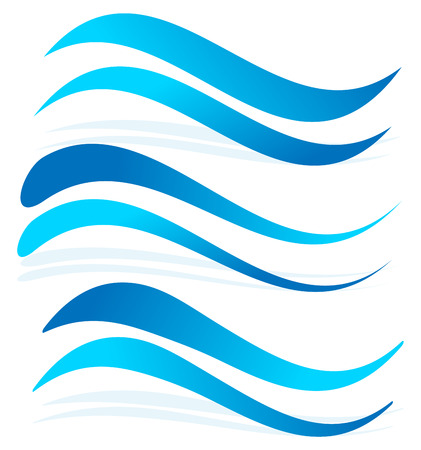 Wavy lines as water elements. Dynamic undulating, billowy blue lines