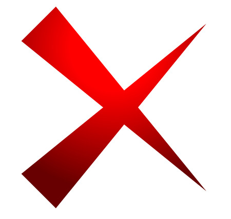 X letter, x shape. Cross with red colors as delete, remove, failure icon Illustration