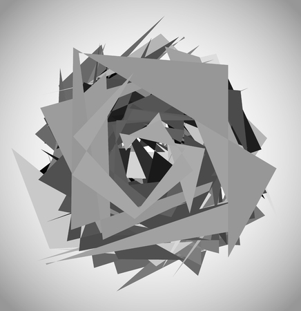 unsettled: Abstract geometric art with random, unsettled edgy shapes