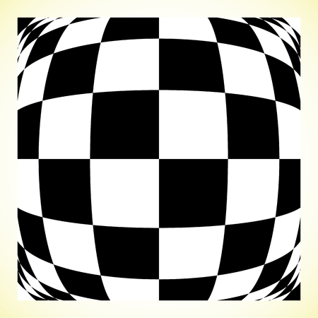 convex: Checkered pattern (chess board, checker board) with distortion