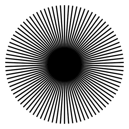 Radiating, radial lines. Starburst, sunburst shape. Ray, beam lines merging, intersecting at center. Geometric circular abstract illustration. Illustration