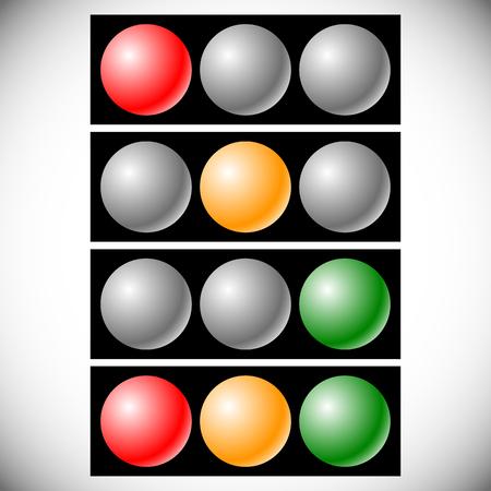 Traffic light icons, traffic lamp illustrations – Transportation, driving, traffic, control concepts Vector Illustration