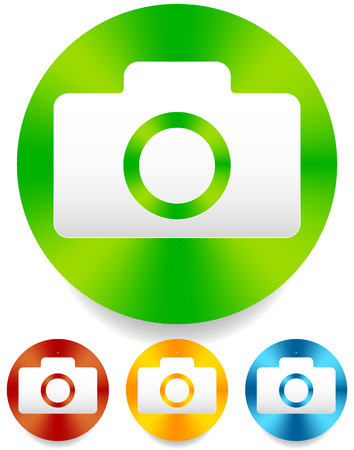 photoshoot: Compact - hobby photo camera icon in green, red, yellow, blue colors Illustration