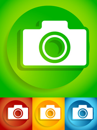 yellow photo: Compact - hobby photo camera icon in green, red, yellow, blue colors Illustration