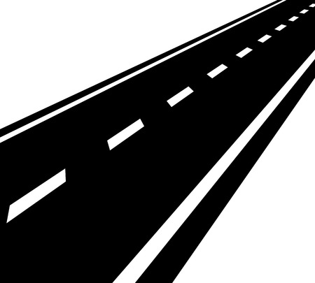 roadway: Empty road, roadway with perspective and divider lines