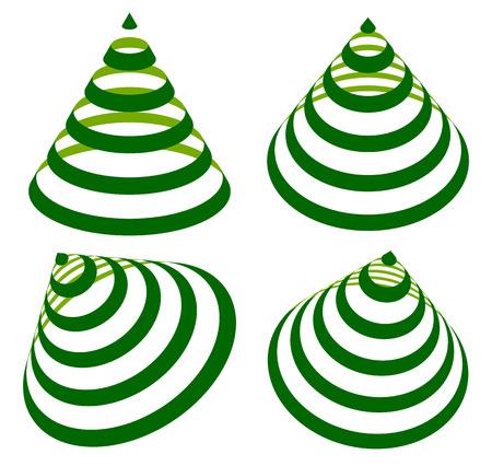 Geometric triangles with stripes, lines in 4 angle. Cone with stripes. Ilustração Vetorial