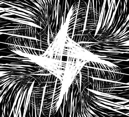 snaky: Random intersecting lines, geometric monochrome art. Random chaotic, curvy lines.