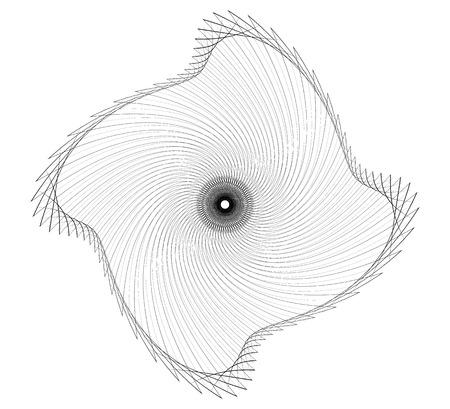 distortion: Abstract spiral element - Geometric spiral, vortex made of thin lines Illustration
