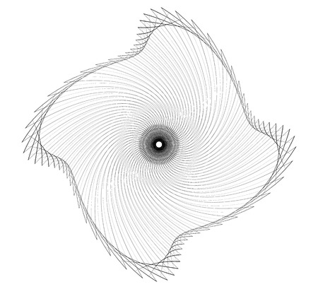 Abstract spiral element - Geometric spiral, vortex made of thin lines Illustration