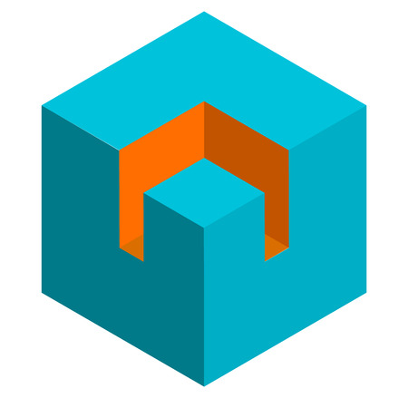duotone: Isometric 3d duotone conceptual cube icon. Geometric cube for structure, building, planning concepts