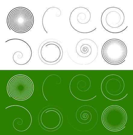 black swirls: Spiral, swirl shapes. Abstract swoosh elements